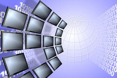 Digital TV and binary code Stock Photo