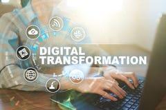 Digital-Umwandlung, Konzept der Digital-Analog-Wandlung von Gesch?ftsprozessen und moderne Technologie lizenzfreie abbildung