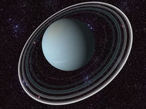 Digital Uranus. 3D Computer generated planet of uranus and space Royalty Free Stock Photo