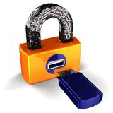 Digital USB padlock (Hi-Res). Computer security concept. Isolated on white. 3D render Stock Photo