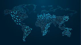 Digital världskarta teknologier royaltyfri illustrationer