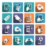 Digital vård- symbolsuppsättning Arkivbilder