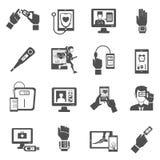 Digital vård- symbolsuppsättning Fotografering för Bildbyråer