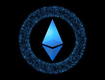 Digital valuta Ethereum Cryptocurrency symbol Symbol av smart Royaltyfria Bilder