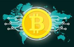 Digital valuta för guld- bitcoin och världsjordklot vektor illustrationer