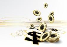 Digital valuta som finansierar guld- bakgrund för myntbesparingbegrepp Royaltyfri Fotografi