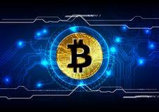 Digital valutabakgrund för abstrakt bitcoin, futuristiskt digitalt Royaltyfri Bild