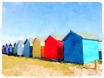 Digital vattenfärg av strandkojor Arkivbild