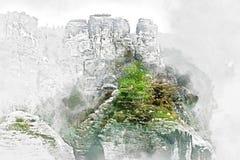Digital vattenfärgmålning av Bastei germany Royaltyfri Fotografi