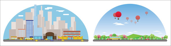 Digital vector abstract background collection set. With cityscape, road and cars, high buildings and clouds, flat triangle cartoon style stock illustration