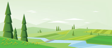 Digital vector abstract background with pines. Green fields and clouds, spring yellow flowers, bridge over river, mountains, flat triangle style Royalty Free Stock Photos