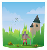 Digital vector abstract cartoony warrior. Fighter with metal armor and sword, castle, over blue background with clouds, flat triangle style Stock Photography