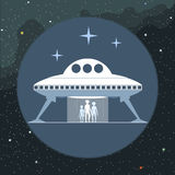 Digital vector with alien coming from a space ship Stock Photo
