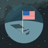 Digital vector with american usa flag icon. Planet, shadow and foot steps, over background with stars, flat style Stock Photo