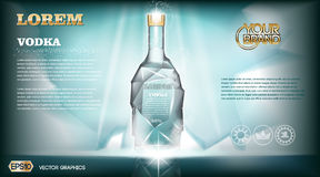 Digital vector aqua silver vodka bottle mockup. With ice and sparkle, with your brand, ready for print ads or magazine design. Glossy and shine, realistic 3d Stock Photos