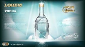 Digital vector aqua silver vodka bottle mockup Stock Photos