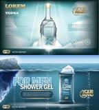 Digital vector aqua silver vodka bottle mockup. Digital vector aqua silver shower gel and vodka bottle mockup with ice and sparkle, with your brand, ready for Stock Image