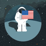 Digital vector with astronaut sign with usa flag Royalty Free Stock Image