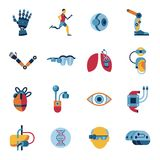 Bionics and artificial intelligence icon set. Digital vector bionics and artificial intelligence icon set infographics Stock Photography