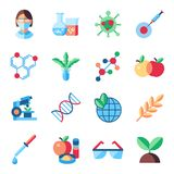 Digital vector biotechnology icons set. With drawn simple line art info graphic, flat style stock illustration