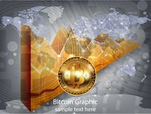 Digital vector bitcoin cryptocurrency realistic chart diagram, graphic payments, money transfers, financial concepts. Digital vector bitcoin cryptocurrency Stock Photography