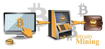 Digital vector bitcoin cryptocurrency realistic money transfers financial concept. Cash machine, wallet, computers. Digital vector bitcoin cryptocurrency Royalty Free Stock Photos