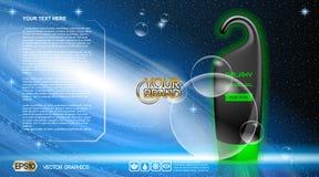Digital vector black, blue and green shower gel Stock Image