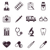 Digital vector black medical icons. With drawn simple line art info graphic, ambulance tooth pills nurse heart tubes syringe medicine dropper first aid Stock Photo