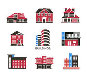 Digital vector black red city buildings. Icons with drawn simple line art info graphic, presentation with bank, shop and business centre elements around promo Stock Photos