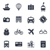 Digital vector black travel icons. Set with drawn simple line art info graphic poster promo, ship boat camera balloon luggage compass air plane map globe taxi Royalty Free Stock Images