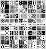 Digital vector black and white geometric. Universal different seamless patterns with swatch tiling endless texture Vector Illustration