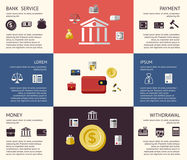 Digital vector red black business icons. Digital vector blue business icons with drawn simple line art info graphic, presentation with economy elements arranged Royalty Free Stock Photography