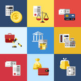 Digital vector blue red business icons. Digital vector blue business icons with drawn simple line art info graphic, presentation with economy elements in squares Royalty Free Stock Photo