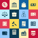 Digital vector blue red business icons Royalty Free Stock Images