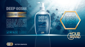 Digital vector blue deep ocean liquid soap mockup. On water background with bubbles and fish, your brand, ready for design. Realistic style Royalty Free Stock Photography