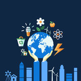 Digital vector blue ecology icons. With drawn simple line art info graphic, hand holding planet earth, presentation with recycle, alternative energy elements Stock Illustration