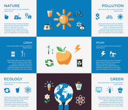 Digital vector blue ecology icons. With drawn simple line art info graphic, presentation with recycle, production and alternative energy elements around promo Vector Illustration