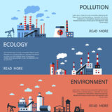 Digital vector blue factory pollution Royalty Free Stock Photos