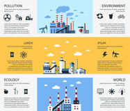 Digital vector blue factory pollution Stock Images