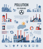 Digital vector blue factory pollution icons Royalty Free Stock Photography