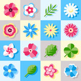 Digital vector blue flowers set icons. With drawn simple line art info graphic, presentation with petals, branch and floral elements around promo template, flat Royalty Free Stock Image