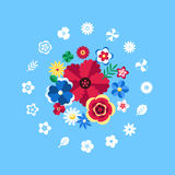 Digital vector blue flowers set icons. With drawn simple line art info graphic, presentation with petals, branch and floral elements around promo template, flat stock illustration