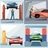Digital vector blue, green and red auto service. Car icon set, mechanic fixing, washing and fueling, flat style Stock Image