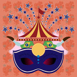 Digital vector blue mask over orange background. With stars, rio carnival party, toucan birds and brazilian flag, flat style Stock Image
