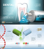 Digital vector blue medicine toothpaste. Infographics of oral hygiene mockup and tooth structure with pills, with your brand, for print ads or magazine design vector illustration