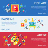 Digital vector blue red artist. Icons set with drawn simple line art info graphic, presentation with paint, canvas, brush and art tools elements around promo Royalty Free Stock Images