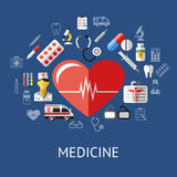 Digital vector blue red big heart. Pharmacy medical icons set with drawn simple line art info graphic, ambulance tooth pills nurse tubes medicine dropper first Stock Image