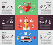 Digital vector blue red green pharmacy. Medical icons set with drawn simple line art info graphic, ambulance tooth pills nurse heart tubes syringe dropper first Royalty Free Stock Photography