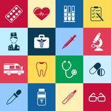 Digital vector blue red green pharmacy. Digital vector blue red pharmacy medical icons set with drawn simple line art info graphic, ambulance tooth pills nurse Stock Photo