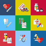 Digital vector blue red pharmacy. Medical icons set with drawn simple line art info graphic, ambulance tooth pills nurse heart tubes syringe medicine dropper Royalty Free Stock Photography